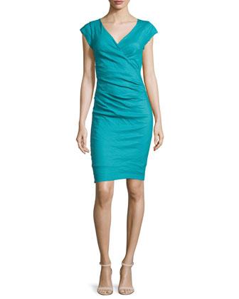 Cap-Sleeve Faux-Wrap Dress, New Lagoon
