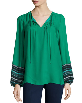 Lilly Long-Sleeve Tie-Neck Peasant Top