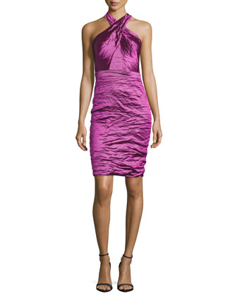 Halter-Neck Strappy-Back Dress, Magenta