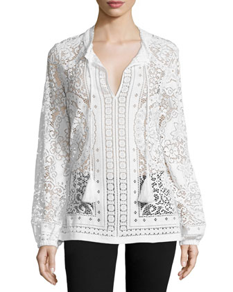 Long-Sleeve Lace Peasant Blouse
