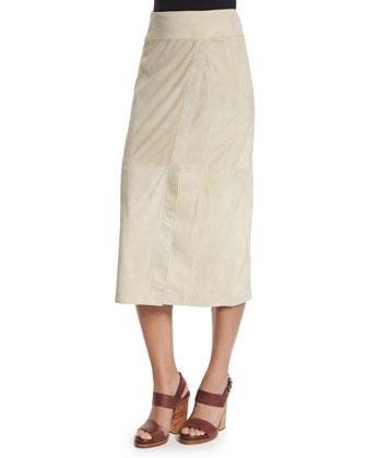 Nubuck Leather Wrap Skirt