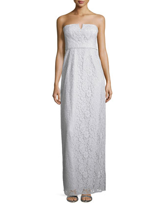 Strapless Lace Column Gown