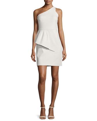 One-Shoulder Peplum Dress, Dark Bone