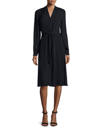 Margaux Long-Sleeve Tie-Waist Dress, Black