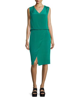Livia Sleeveless V-Neck Dress, Emerald