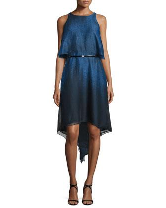 Sleeveless Popover Belted Dress, Sky Blue Ombre