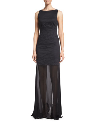 Sleeveless Back-Tie Gown, Black