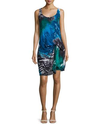 Sleeveless Printed Sheath Dress, Aquamarine Print