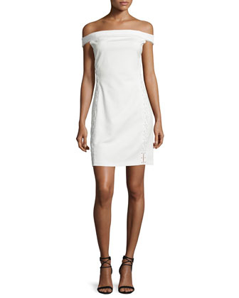 Off-The-Shoulder Lace-Up Cocktail Dress, Off White