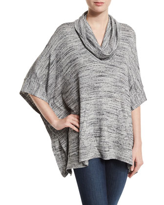 Brushed Tri-Blend Cowl-Neck Poncho, Heather Gray