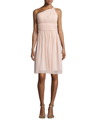 One-Shoulder Ruched Cocktail Dress