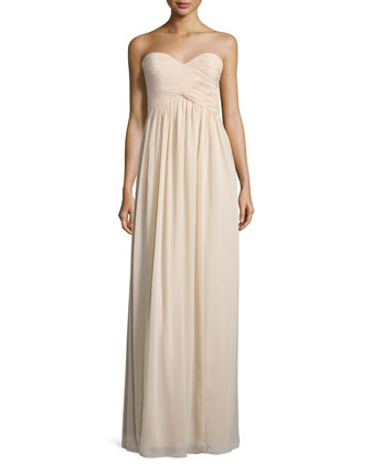 Strapless Sweetheart Ruched Gown