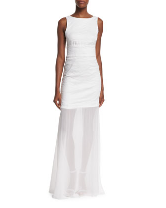 Sleeveless Back-Tie Gown, White