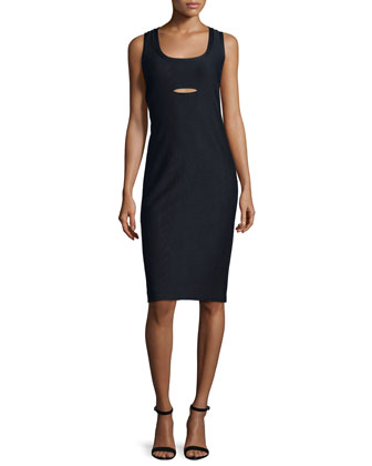 Sleeveless Sheath Dress W/Cutouts, Black