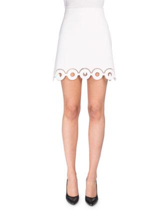 Ponte High-Waist Eyelet Skirt, Optic White