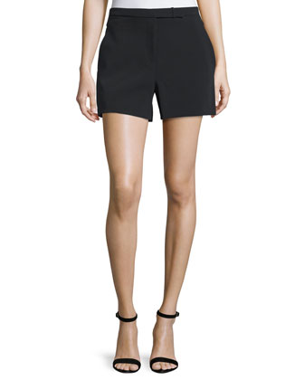 Mid-Rise Structured Shorts, Black
