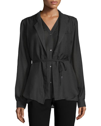 Long-Sleeve Layered Blouse, Black