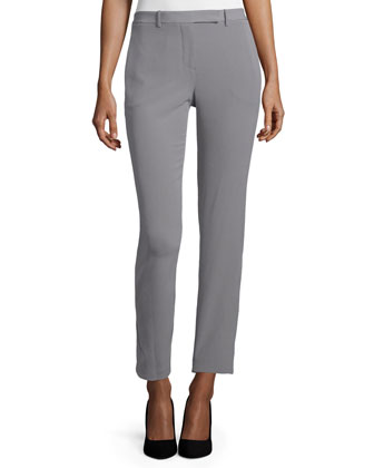 Slim-Leg Cropped Pants, Gravel