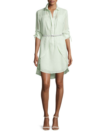 Long-Sleeve Belted Overlay Shirtdress, Pistachio