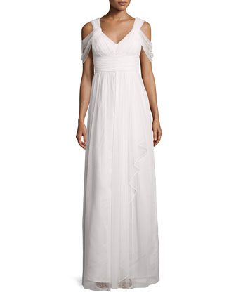 Colette Dot Mesh Flowy Gown