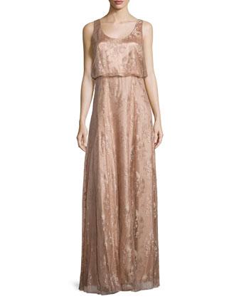 Natalya Sleeveless Satin Lace Gown