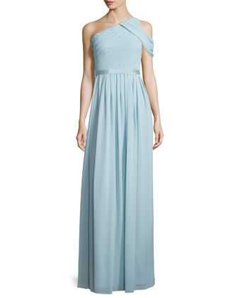 Chloe One-Shoulder Chiffon Gown