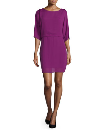 3/4-Sleeve Draped-Back Dress, Electric Purple
