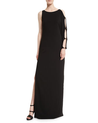 One-Sleeve Column Gown, Black