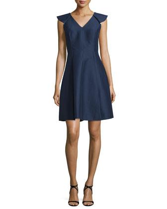 Cap-Sleeve Structured Dress, Midnight/Cream