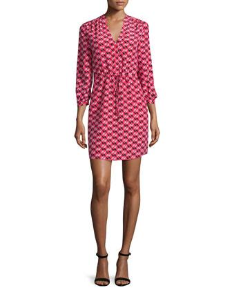 3/4-sleeve geometric-print shirtdress, geranium
