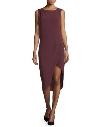 Sleeveless Cutaway-Hem Dress, Syrah