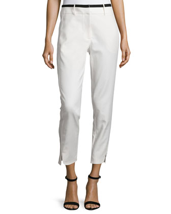 Slim-Fit Cropped Pants, Linen White
