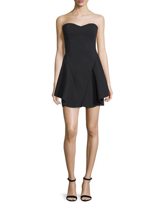 Strapless Fit-&-Flare Dress, Black