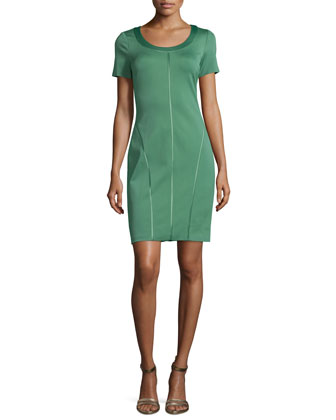 Short-Sleeve Ponte Sheath Dress, Loden