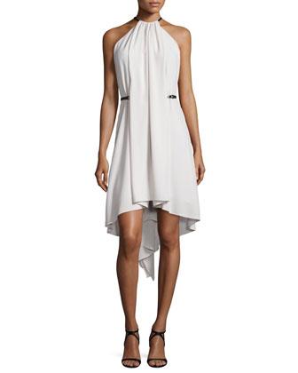 Halter-Neck Pleated-Front Dress, Dark Bone