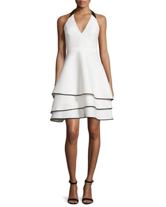 Halter-Neck Two-Tone Party Dress, Bone/Black