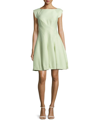 Cap-Sleeve Structured Party Dress, Pistachio