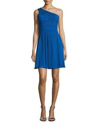 One-Shoulder Ruched Dress, Cobalt