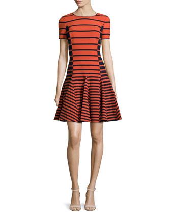 Short-Sleeve Striped Dress, Dark Fire Stripe