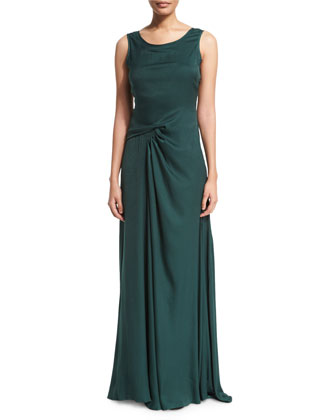 Sleeveless Twist-Front Gown, Moss
