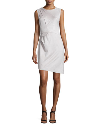 Sleeveless Pleated-Shoulder Sheath Dress, Stone Gray