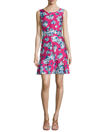Topanga Floating Flowers A-Line Dress, Pink