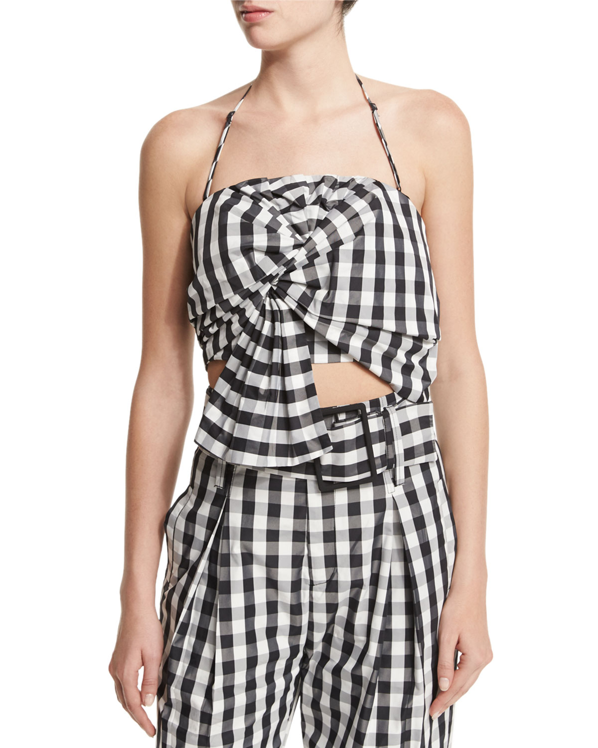 Knot-Front Halter Top, Gingham, Size: LARGE - Kendall + Kylie