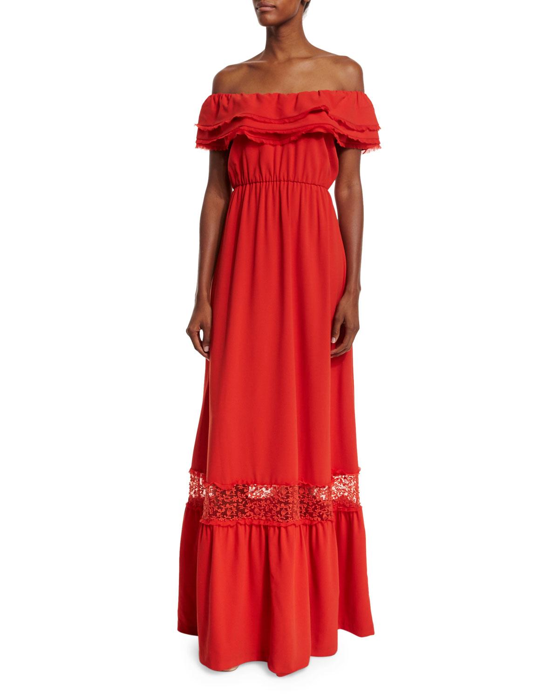 Cheri Lace-Trim Maxi Dress, Light Red, Size: 0 - Alice + Olivia