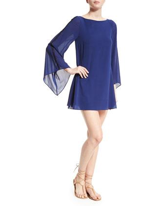Eleonora Chiffon Mini Dress, Blue