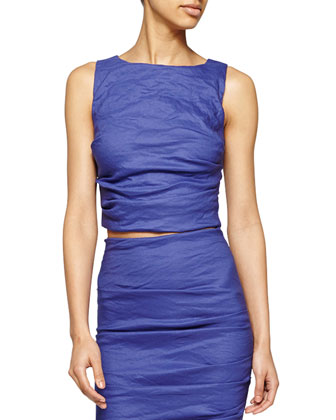 Sleeveless Ruched Crop Top, Blueprint
