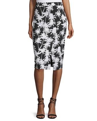 Front-Slit Printed Pencil Skirt, Black/White