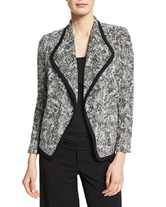 Draped-Front Boucle Jacket