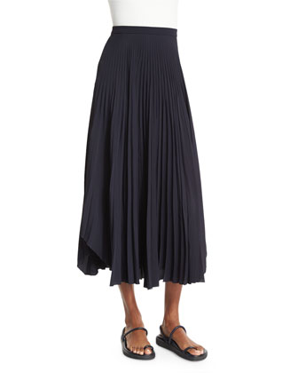 Pleated Chiffon High-Waist Midi Skirt, Navy