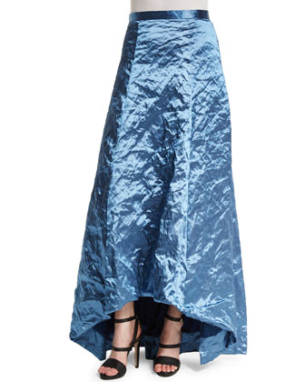 Crinkled High-Low Full Skirt, Blue Bell